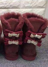 $enCountryForm.capitalKeyWord NZ - discount promotion Australia WGG women's Snow boots 2 bow rhinestones decorative Australian suede Cotton boots winter Snow boot Boots