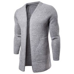 260d19c07a New Designer Cardigan Sweater Men  V-neck Long Sweater With Long Sleeve  Cotton Blend Knitted Winter Mens Knitted Coats For Sales