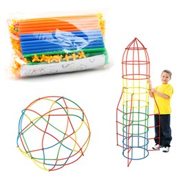 block puzzle toy 2018 - 100 200 400pcs 4D Straws Toy Baby Puzzle Prajita Children's Block Toys Pipette Stitching Assembly Straw Educational