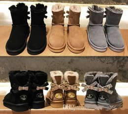 Sheepskin Boots Bows Canada - Free shipping Australia WGG single double diamond Snow boots female winter leather bow rhinestone crown warm thick Cotton shoes