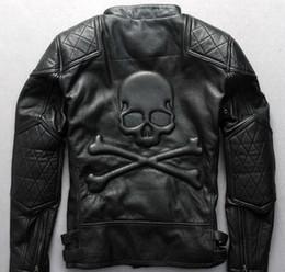 $enCountryForm.capitalKeyWord NZ - 2018 Stamped skull head stand collar radiance mastermind 100% genuine leather jackets with ykk zipper Men leather jacket