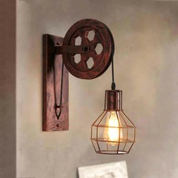 Bra glasses online shopping - Loft Retro Lanterns Fixtures Pulley Wall Lamp Pendant Suspension Light Fitting Kitchen Bedroom Living Room Wall Lamp Bra Sconce