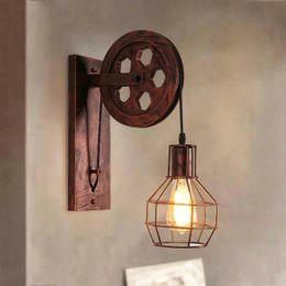 Bra Pendants NZ - Loft Retro Lanterns Fixtures Pulley Wall Lamp Pendant Suspension Light Fitting Kitchen Bedroom Living Room Wall Lamp Bra Sconce