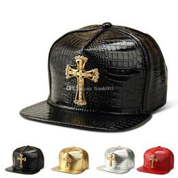 Hat diamond logo online shopping - Vogue PU Leather Cross prey logo Baseball caps Diamond Gold Crocodile Grain DJ hip hop hats men women sports snapback hat