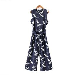 cute casual jumpsuits UK - women cute crane print jumpsuit sashes pockets sleeveless pleated rompers ladies vintage casual jumpsuits