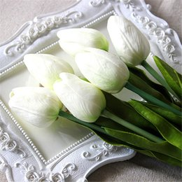 Tulip decor online shopping - Charming Pretty Artifical flower Real Touch PU White Tulips Simulation Single Stem Bouquet Table Party Wedding Decor
