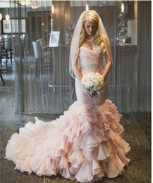 $enCountryForm.capitalKeyWord Canada - Blushing Pink Mermaid Sweetheart Colorful Wedding Dresses With Beaded Belt Ruffles Skirt Corset Back Modern Bridal Gowns Couture Custom Made