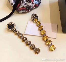 Swarovski Gold 18k Australia - 2018 Brand name lion head shape for dangle earring with 7pcs swarovski yellow diamonds drop Tribale Earring 18k gold plated beach style wo