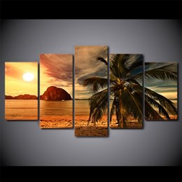 $enCountryForm.capitalKeyWord NZ - 5 Pcs Framed HD Printed tropical beach palm tree Canvas Painting Wall Art Prints Home Decor For Linving Room Art Picture