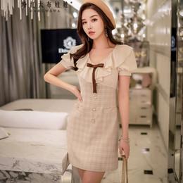 ff64f9735f2e Dabuwawa 2018 New OL Style Fashion Lotus Leaf And Ruffle Bow Tie V Collar  Short Sleeve Summer Women Dress