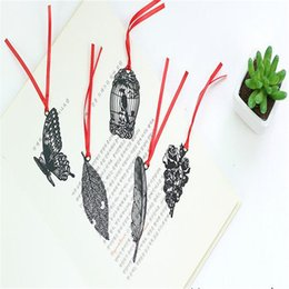 Cute korean bookmarks online shopping - Cute Kawaii Black Butterfly Feather Metal Bookmark for Book Paper Creative Items Lovely Korean Stationery Gift Package