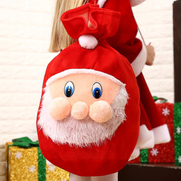 Discount embroidered soft toys Christmas Gift Bag Embroidered Velvet Santa Claus Sack Gift Bags Pouch Christmas Decoration for Home Party New Year'