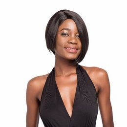 black women dark blonde hair 2019 - Synthetic Wigs With Bangs Short Straight Hair 10 inches Heat Resistant Side Parting Pixie Wigs for Black Women Simulatio