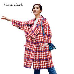 $enCountryForm.capitalKeyWord Canada - LIVA GIRL 2017 Women Plaid Coat Autumn Winter Long Houndstooth Jacket Female Turn-Down Collar Blends Woolen Warm Overcoat WJN362