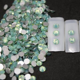 Wholesale Green Opal Rhinestones Back Flat Round Nail Art Decorations And Stones Non Hotfix Rhinestones Crystals for DIY Glass