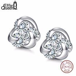 $enCountryForm.capitalKeyWord NZ - Effie Queen 100% Genuine 925 Sterling Silver Earrings for Women Hot Sale 8mm CZ Small Cute Crystal Jewelry Stud Earrings BE10