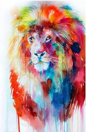 "5d diamond UK - Full Square Round Drill 5D DIY Diamond Painting ""lion"" Embroidery Cross Stitch Mosaic Home Decor Art Experience toys Gift A0085"