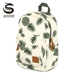 women canvas lace backpacks NZ - Women Fruit Printing Backpack Canvas Backpacks for Teenage Girls School Bag Green Pineapple Backpack Big Travel mochila escolar