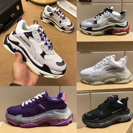 Lace materiaL boots online shopping - Multi material large cushion sports shoes multiple luxury triple S designer low new sports shoes combination soles boots men s women s