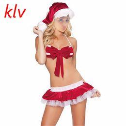 5b40bcae4e4d5 Sexy Lingerie Christmas Hats+Bikini Sexy Costumes Women Santa Claus Cosplay  Dress Exotic Sets Underwear Nightdress Suits AJ C18111601