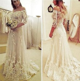 Lace Wedding Dresses Australia - Arabic Off Shoulder Lace Tulle With Half Sleeves 2018 A Line Wedding Dresses Appliques Button Back Sweep Train Plus Size Formal Bride Gowns