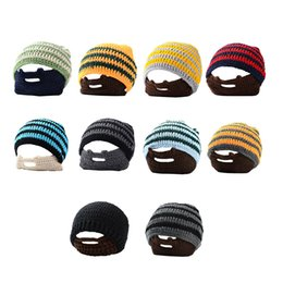 thick headbands 2019 - Warmth Halloween Party Hats For Father New Year & Xmas Men Accessories Decor Handmade Stripe Beanies Caps Thick Winter H