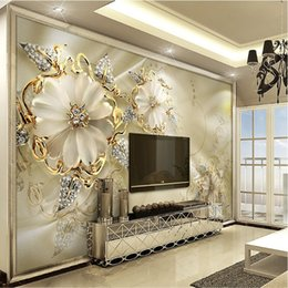 golden living room decor Canada - Custom 3D Mural Wallpaper European Style Diamond Jewelry Golden Flower Backdrop Decor Mural Modern Art Wall Painting Living Room
