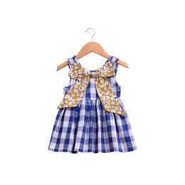 wholesale girls christmas dress UK - Big Bowknot New Baby Girls Mini Dress Baby Summer Fashion Style Short Sleeve Party Dress KA849