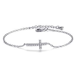 6183372bdfea Pulsera de cruz de cristal de oro rosa para las mujeres encantos de plata  infinito enlace pulseras brazaletes joyería de alta calidad regalos