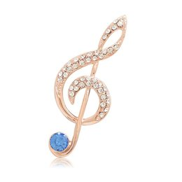 musical notes brooches 2021 - OneckOha Fashion Musical Note Brooch Pin Blue Pink Rhinestone Music Pin Garment Accessories Birthday Gift