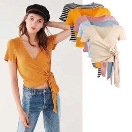 2924f950c246ad Sommer Frauen Lange Band Frenulum T-shirt Kurz Stil Kurzarm Slim Cut Tops  Mädchen Mode Sexy Gestreiften Baumwolle v-ausschnitt Mutterschaft Kleidung
