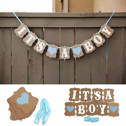baby shower party props NZ - Kraft Paper Baby Shower Banner, Its A Boy Girl Birthday Party Garland Baptism Nursery Christening Decos Paper Photo Booth Props
