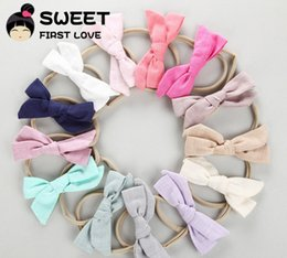 hair rope princess Canada - Children cotton linen Bows hairbands boutique girls cloth Bows Tie princess headdress kids multicolor cotton Bowknot elastic hair rope Y0416