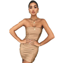 12e011e6501 Women Sexy Off Shoulder Sleeveless Boob Tube Top Dress Slim Stretch Bodycon  Party Clubwear Mini Dress Sexy Solid Pencil Dresses
