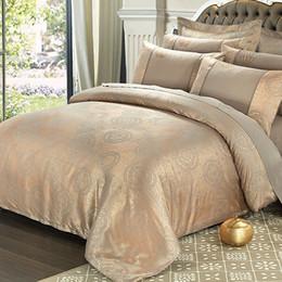 Duvet cream silk queen online shopping - European style silk bedlinen jacquard satin bedding sets bedclothes queen king size Good quality duvet cover sheet pillowcase
