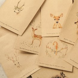 diy stationery 2019 - 10 Pcs set DIY Deer Envelope Cute Retro Kraft Paper Envelopes Gift Card Office Stationery Supplier discount diy statione