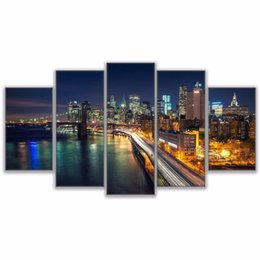 $enCountryForm.capitalKeyWord UK - Modern Canvas Picture Wall Art Home Decor 5 Pcs Brooklyn Bridge Waterfront City Nightscape Painting HD Prints Poster can as gift Y18102209
