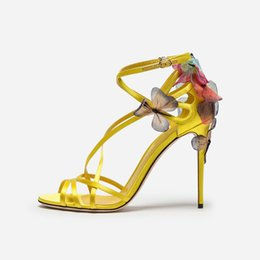 Wholesale Handmade upmarket butterfly flower stiletto women shoes summer cross buckle band yellow satin sexy high heels ladies shoes