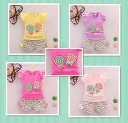 Girls trendy shorts online shopping - 2pcs toddler kids baby girls outfits lolly t shirt tops short pants clothes set fashion trendy gifts