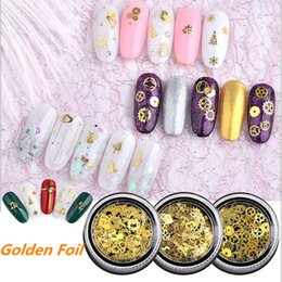 $enCountryForm.capitalKeyWord NZ - 120ps box Nail Art Rhinestone Gold Nail Stickers Metal Geer Wheel Butterfly Flower Rhinestones Mixes Foil Decorations
