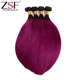 $enCountryForm.capitalKeyWord UK - ZSF 100% Unprocsssed Straight Ombre Bundles Brazilian Human Hair 4 Bundles Two Tone Color 1B Purple Ombre Braiding Hair Extensions