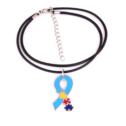 autism awareness charms NZ - New Arrival Autism Awareness Identification Necklace Hope Puzzle Piece Pattern Enamel Ribbon Charm Pendant ID Necklace