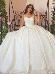 $enCountryForm.capitalKeyWord NZ - Pageant Princess Gown Wedding Dresses Spaghetti Straps Lace Appliqued Ruched Long Bridal Gowns Plus Size Elegant Arabic Dubai Robe 90