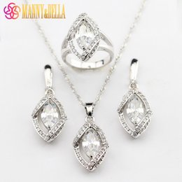 $enCountryForm.capitalKeyWord Australia - Top Quality White Austria Crystal 925 Sterling Silver Women Jewelry Sets Earrings Pendant Necklace Ring Free Gift Box 199
