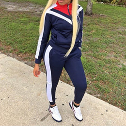 sexy baseball Australia - Women Panelled Colors Zipper Jackets Skinny Sexy Tracksuit Vintage Old School Style Woman 2pcs Free Shipping