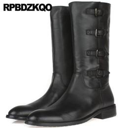 $enCountryForm.capitalKeyWord NZ - High Quality Genuine Leather Tall Full Grain Black Round Toe Autumn Vintage Motorcycle Boots Chunky Men Zipper Shoes Mid Calf