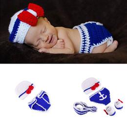 $enCountryForm.capitalKeyWord Australia - Newborn Photography Props Newborn Navy Sailor Design Baby Crochet Hats Diaper Necktie Shoes Set