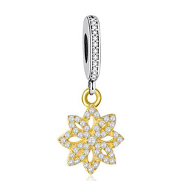authentic flowers Australia - Light Yellow Gold Color Lace Flower Charm Pendant Authentic 25 Sterling Silver Dangle Pave Flower Charms Beads DIY Bracelets Accessories