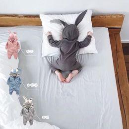 Nouveau-né Bébé Barboteuses Oreilles De Lapin Bébés Onésies Vêtements Zipper À Capuche Toddler Romper Infant Body Combinaisons Sac De Couchage en Solde