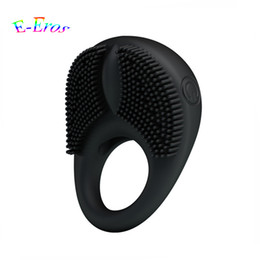 Discount sex love ring vibrator Pretty Love Men's Silicone Vibrating Cock Ring Time Lasting Penis Ring Vibrator For Couples Clitoral Stimulation Or